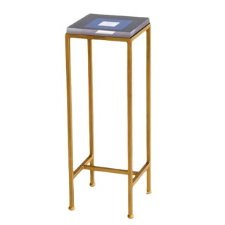 Contemporary Ellsworth Acrylic Drinks Table – Base: Gold, Top: Squares Navy/White For Sale