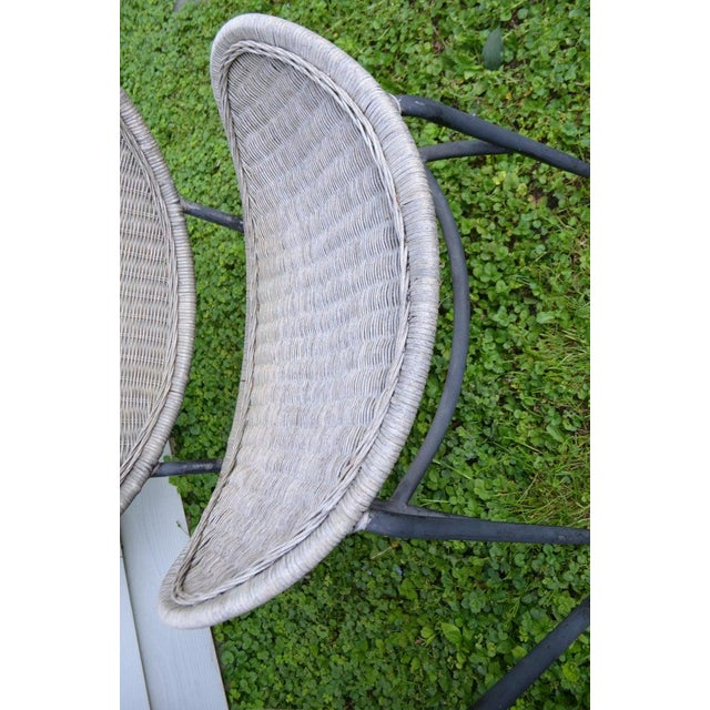Salterini Wicker Clamshell Chairs, Pair, With Steel Frame for Home, Patio, Porch For Sale In Madison - Image 6 of 13
