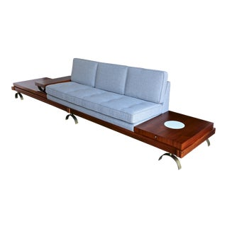 Martin Borenstein Walnut Upholstered Sofa For Sale