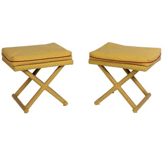 Pair 1960s Upholstered X Benches For Sale