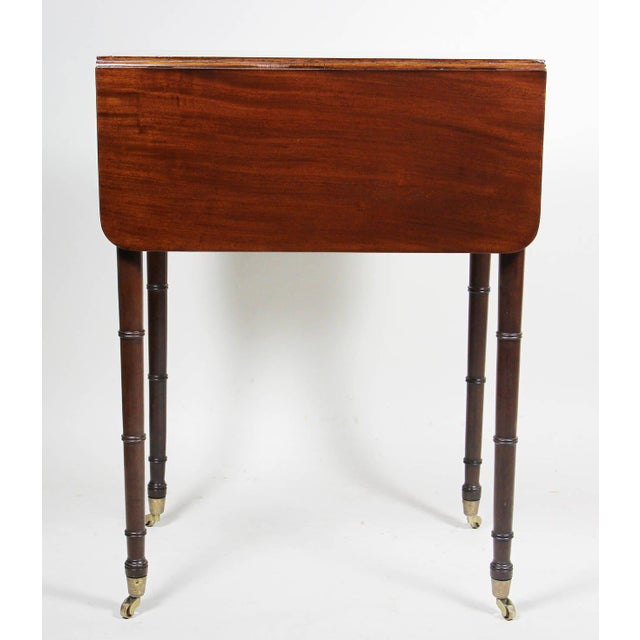 Brown Regency Mahogany And Brass Inlaid Table For Sale - Image 8 of 10