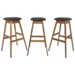 Set of Three Danish Teak and Leather Bar Stools by Vamdrup Stolefabrik For Sale