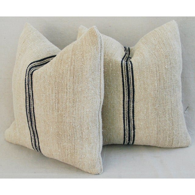 French Grain Sack Down & Feather Pillows - Pair - Image 10 of 11