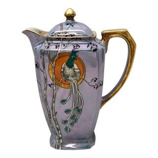 1940s Purple Peacock Lusterware Tea Pot For Sale