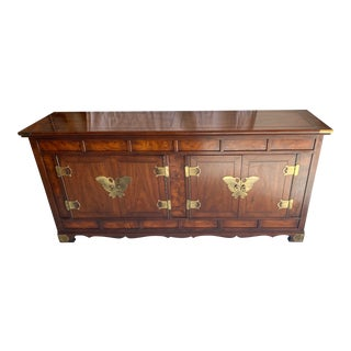 Asian Chinoiserie Butterfly Buffet by Henredon, Brass Hardware For Sale