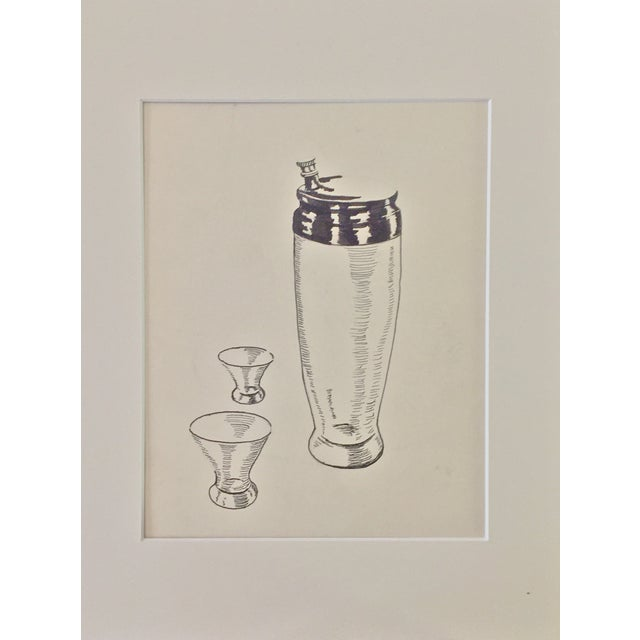 Mid Century Cocktail Shaker Pen & Ink Drawing - Image 2 of 4