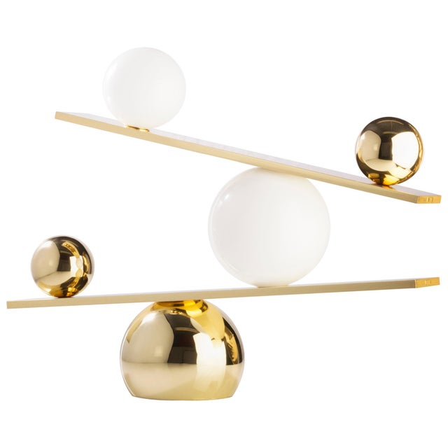 Balance Brass Table Lamp by Victor Castanera For Sale - Image 9 of 9