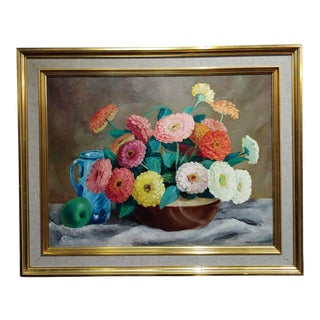 Frode Nielsen Dann Still Life of Dahlias Oil Painting on Canvas, 1942 For Sale