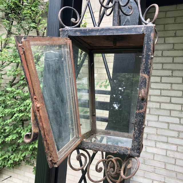19th Century Rustic Hand Forged Wrought Iron Outdoor Candle Lantern For Sale - Image 11 of 13