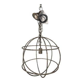 Italian Round Interlocking Spheres Silver Clay Pendant Light For Sale