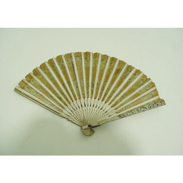 Vintage Hand Painted Paper Fan - Image 3 of 4