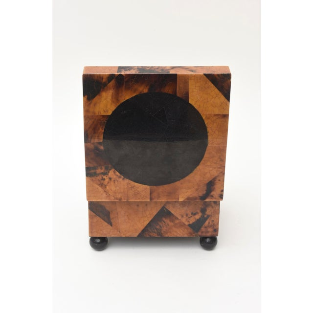 1970s Maitland Smith Tessellated Tortoise Shell, Wood and Chrome Hinged Box For Sale - Image 5 of 10