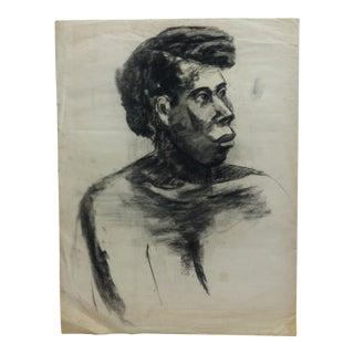 "1960s Vintage ""Black Woman Profile"" Tom Sturges Jr. Original Drawing For Sale"