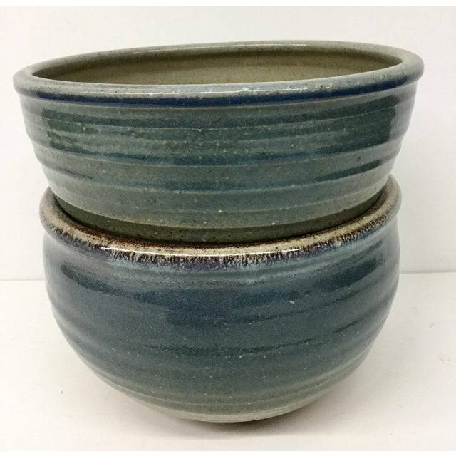 1980s Vintage Hand Thrown Clay Bowls - A Pair For Sale - Image 5 of 13