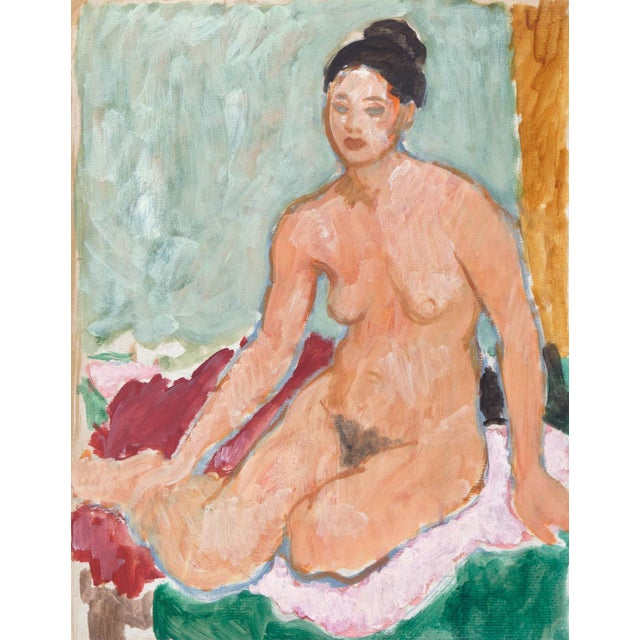 Teal Victor DI Gesu, 'Seated Nude', California Post-Impressionist, Louvre, Lacma, Circa 1955 For Sale - Image 8 of 8