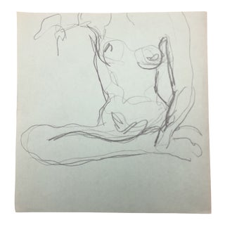 Seated Female Nude Modern Drawing by James Bone, 1970s For Sale