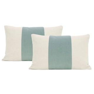 """12""""x18"""" Sea Blue Velvet Panel & Linen Lumbar Pillows - a Pair"""