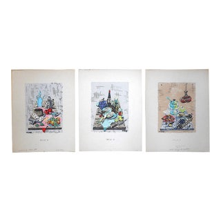 Vintage Signed Silkscreen Prints by N. Takis-Still Life Images-Set of 3 For Sale