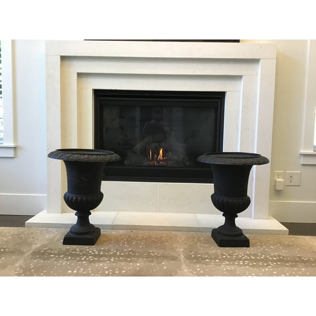 Metal 20th Century French Classical Black Cast Iron Urns - Set of 3 For Sale - Image 7 of 13