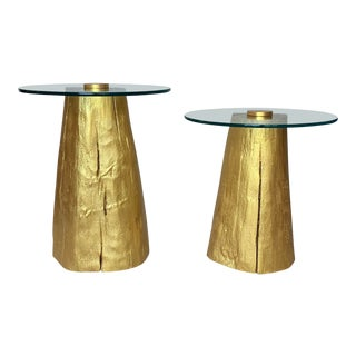 1980s Modern Gilded Tree Trunk Glass Top Tables - a Pair For Sale