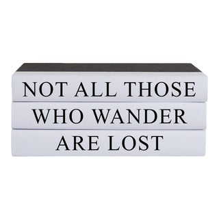 Not All Those Who Wander Quote Book Stack - 3 Pieces For Sale