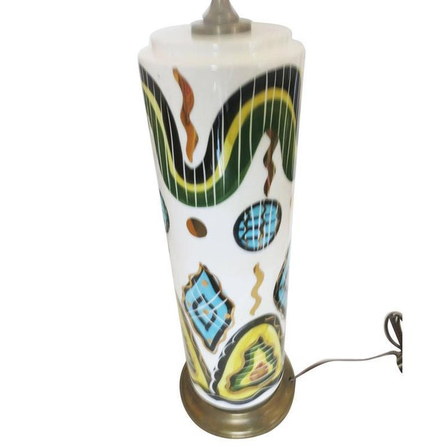 Sascha Brastoff Hand-Painted Modernist California Pottery Table Lamp by Sascha Brastoff For Sale - Image 4 of 6