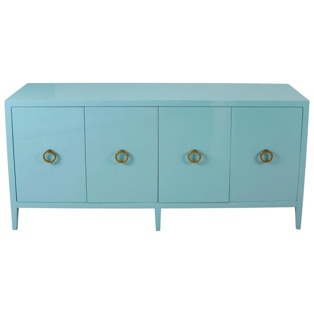 Mid 20th Century Blue Lacquered Modern Credenza For Sale - Image 5 of 5