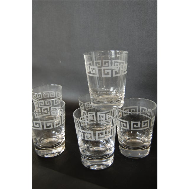 Mid Century Greek Key Cocktail Glasses - Set of 6 - Image 3 of 6