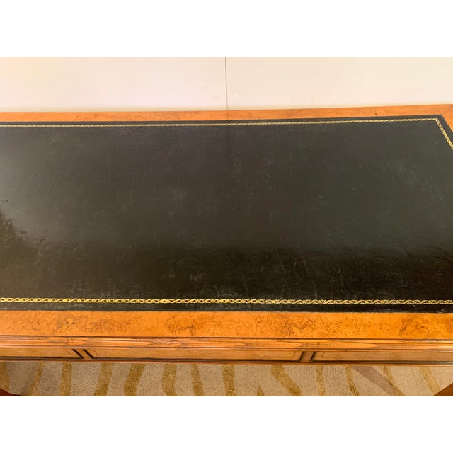 1970s Vintage Mahogany Writing Desk With Black Leather Top For Sale - Image 5 of 13