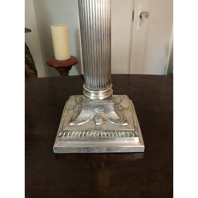 1900 - 1909 Victorian Silverplated Oil Table Lamp For Sale - Image 5 of 9