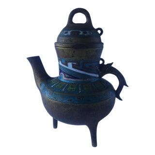 Antique Chinese Bronze Cloisonne Incense Burner Teapot For Sale
