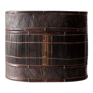 Antique Bamboo and Leather Hat Box