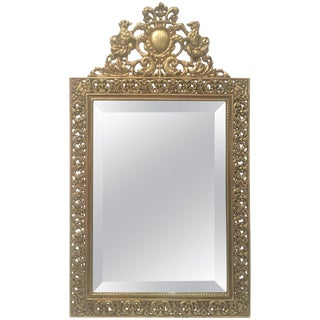 Stunning Antique English Brass Vanity Mirror For Sale