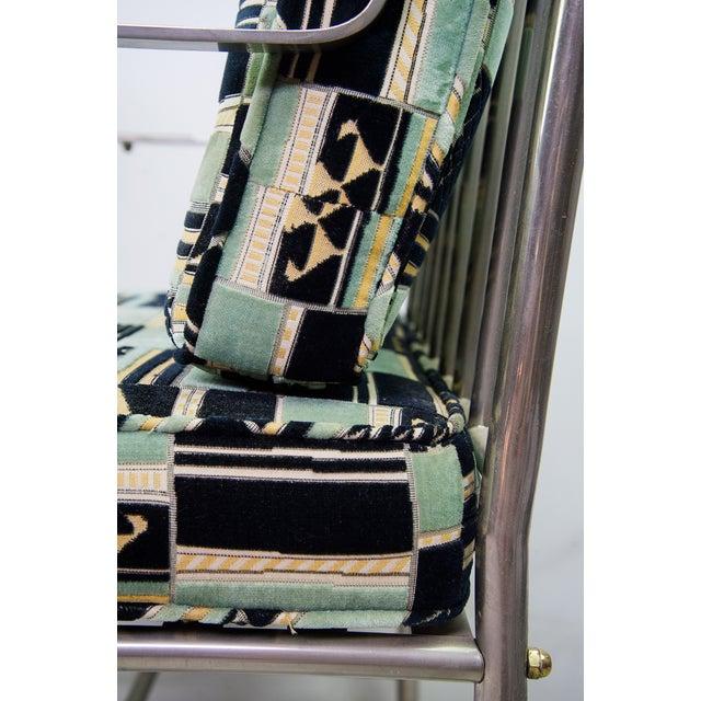 Turquoise Maison Jansen Mid-Century Chrome Armchair For Sale - Image 8 of 9