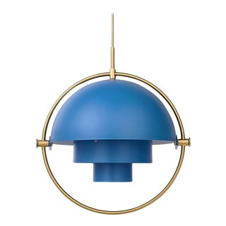 Gubi Multi-Lite Pendant - Nordic Blue and Brass For Sale