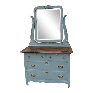 Antique Blue Oak Dresser With Beveled Pivot Mirror For Sale