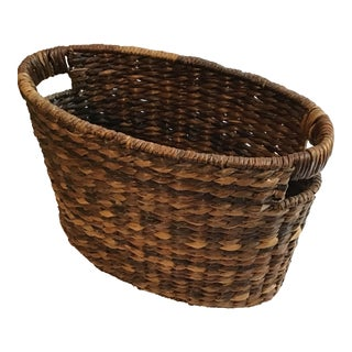 Vintage Oval Shape Handmade Seagrass Abaca Fibers Basket For Sale