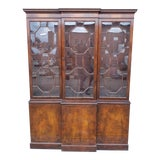 Image of Vintage 1950s Mahogany Baker Furniture Dining Room Breakfront China Cabinet For Sale