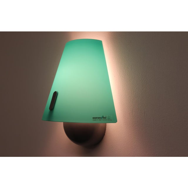 Metal Mid-Century Modern Murano Green Glass Wall Lamp For Sale - Image 7 of 12