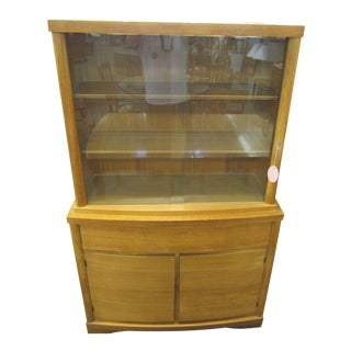Mid Century Modern Danish Maple China Hutch For Sale