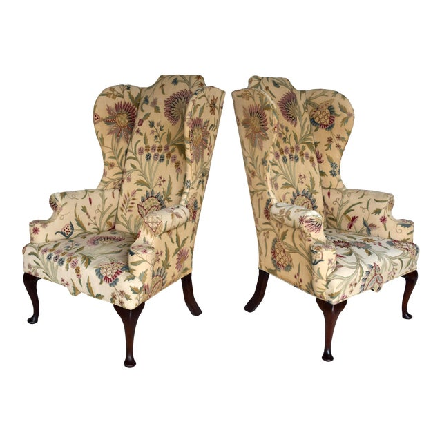 English Queen Anne Style High Back Library Wingchair, Circa 1910 For Sale