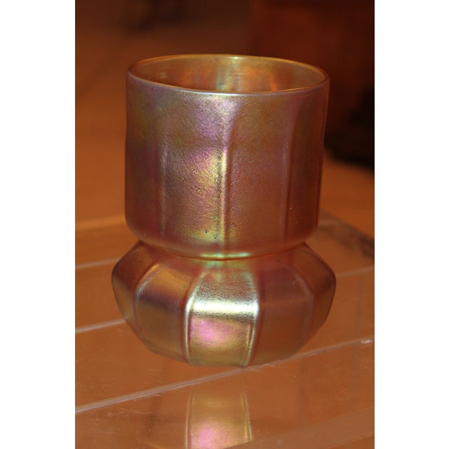 Contemporary Steuben Gold Aurene Style 2 Piece Candle Holder - Image 6 of 9