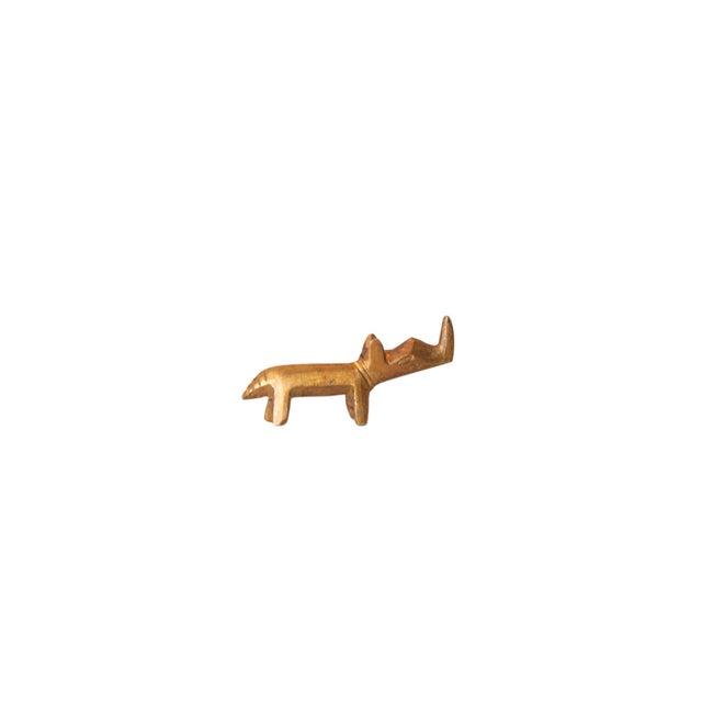 Metal Vintage African Mini Golden Bronze Rhino For Sale - Image 7 of 7