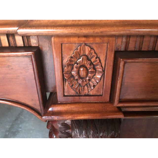 Mahogany Chippendale Style Double Pedestal Partners Desk For Sale - Image 11 of 12