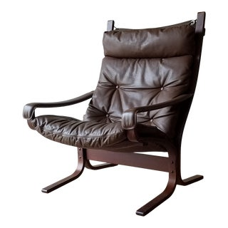 1970s Ingmar Relling Rosewood High Back Seista Chair With Arms For Sale