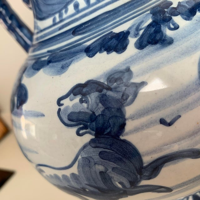 20th Century Glazed Earthenware Spanish Blue and White Painted Urn, Vase For Sale - Image 4 of 13