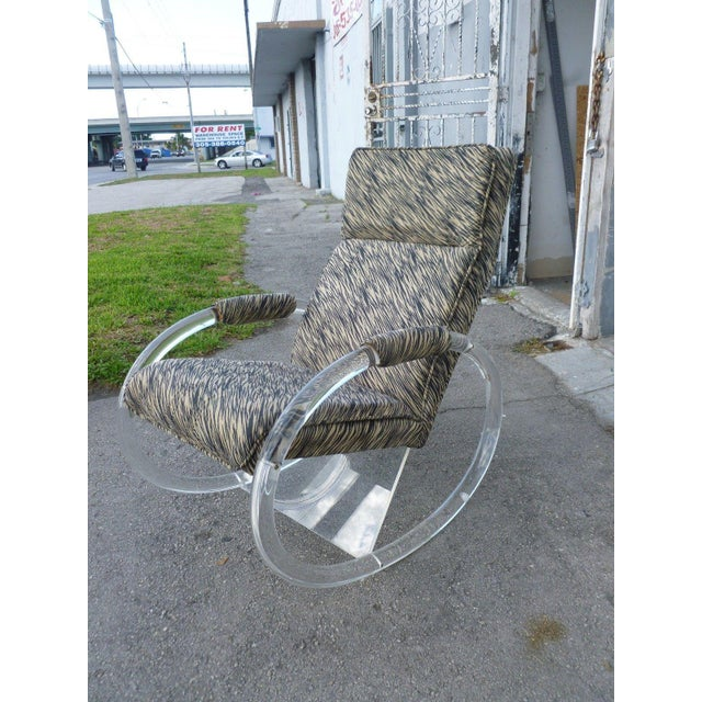 Transparent 1970's Vintage Hollis Jones Lucite Rocking Chair For Sale - Image 8 of 9