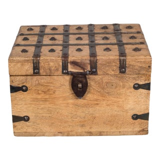 Wood and Metal Studded Box C.1940-1950 For Sale