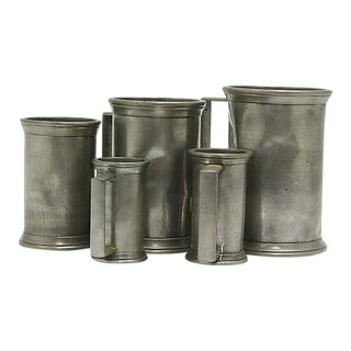 Antique Pewter Liquid Measuring Set - 5 Pieces For Sale