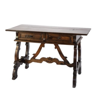 Baroque Period Spanish Walnut Writing Table With Two Drawers, Spain, Circa 1700 For Sale